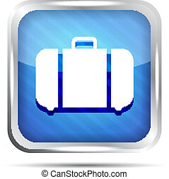 blue striped baggage icon on white