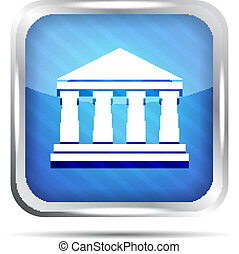blue striped bank icon on a white