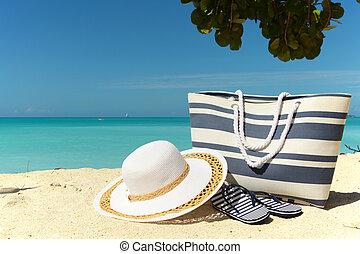 blue striped beach bag
