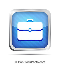 blue striped briefcase icon on a white background