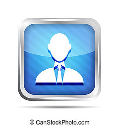 blue striped businessman icon on a white background