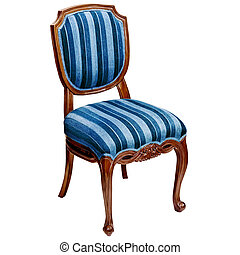 Blue striped chair isolated on white background