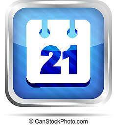 Blue striped date icon on a white
