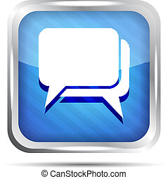 blue striped dialog icon on a white