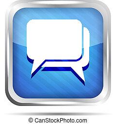 blue striped dialog icon on a white