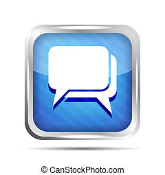blue striped dialog icon on a white background