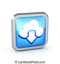 Blue striped download from cloud icon on a white background