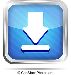 blue striped download icon on a white background