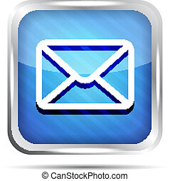 blue striped email button icon