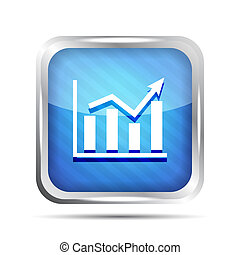 blue striped graph icon on a white background
