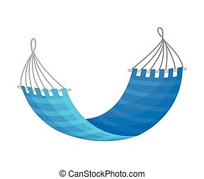 Blue striped hammock. Vector illustration on white background.
