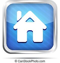 blue striped home button icon
