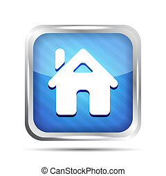 blue striped home button icon on a white background