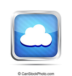blue striped icon with cloud on a white background
