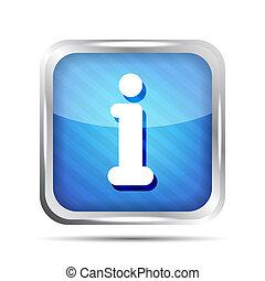 blue striped info icon button on a white background