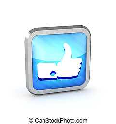 Blue striped like icon on a white background