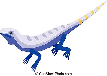 Blue striped lizard icon, isometric style