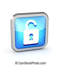 blue striped open padlock icon on a white background
