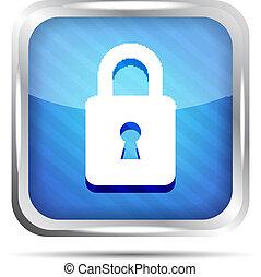 blue striped padlock icon