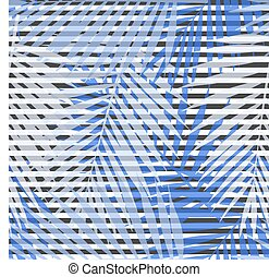 Blue striped palm leaves seamless pattern. Vector illustration.