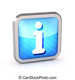 blue striped rounded info icon button on a white background