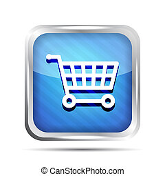 Blue striped shopping cart icon on a white background