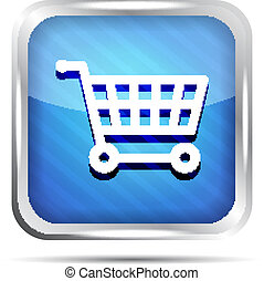 Blue striped shopping cart icon