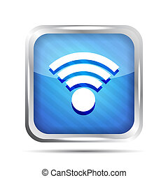 blue striped wifi icon on a white background