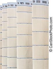 Blue Stripes on White Columns