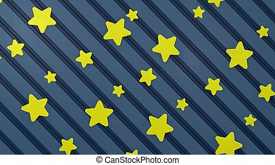 blue stripes with yellow stars background, 3d render