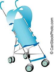 Blue stroller - A blue baby stroller illustration on white.
