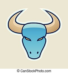 Blue Strong Bull Icon Vector Illustration