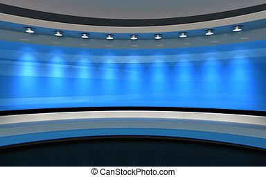 Blue Studio. Blue back drop. 3d rendering