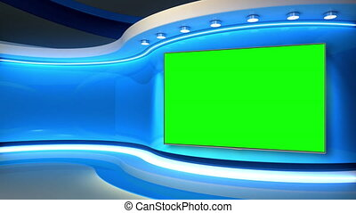 Blue Studio. Blue backdrop. News studio. The perfect backdrop for any green screen or chroma key video or photo production. Breaking news. 3d rendering.