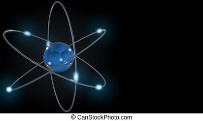 Blue stylized atom and electrons