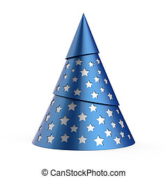 Blue stylized Christmas tree with silver stars