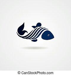 Blue stylized fish isolated on white background