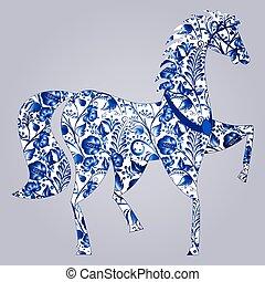 Blue stylized horse Gzhel