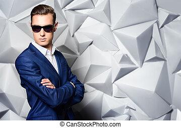 blue suit - Close-up portrait of a handsome man in elegant...