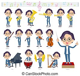 A set of men on classical music performances. There are actions to play various instruments such as string instruments and wind instruments. It's vector art so it's easy to edit.