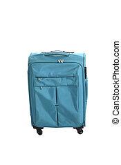 Blue suitcase isolated over white background