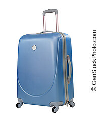 Blue suitcase or trunk isolated with clipping path included