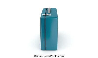 Blue suitcase rotates on white background