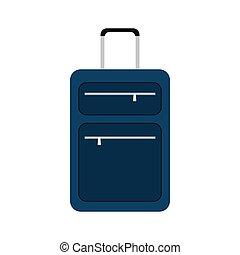 blue suitcase travel equipment