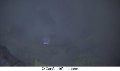 Blue sulfur fire of Mount Kawah Ijen volcano. - Blue fire of...