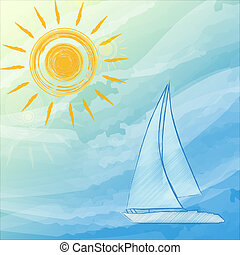 blue summer background with suns and boat - abstract summer...