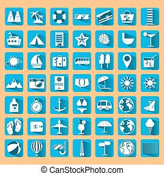 Blue summer holiday icon set.