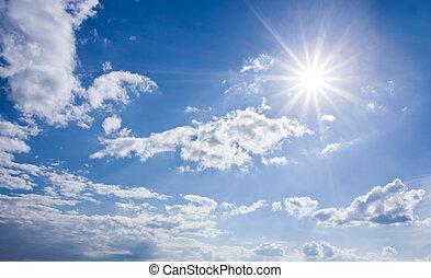 Blue sunny sky - A sky panorama with the sun, blue sky and ...