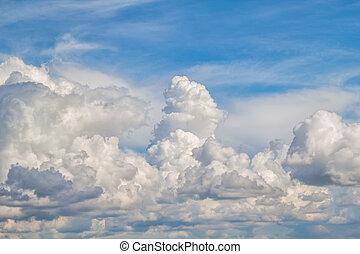 Blue sunny sky cloudscape background.