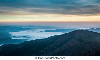 Blue sunrise in the Tatra Mountains in autumn, Poland